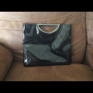 Handbags - Black glossy vinyl looking large purse clutch
